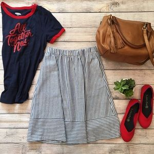 J. Crew Factory Linen Stripe midi skirt sz 00